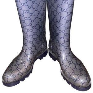 Gucci Blue Monogram Rainboots